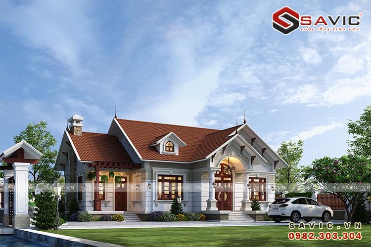 Bản vẽ thiết kế nhà 1 tầng 3 phòng ngủ diện tích 140m2 2 mặt tiền BT1820