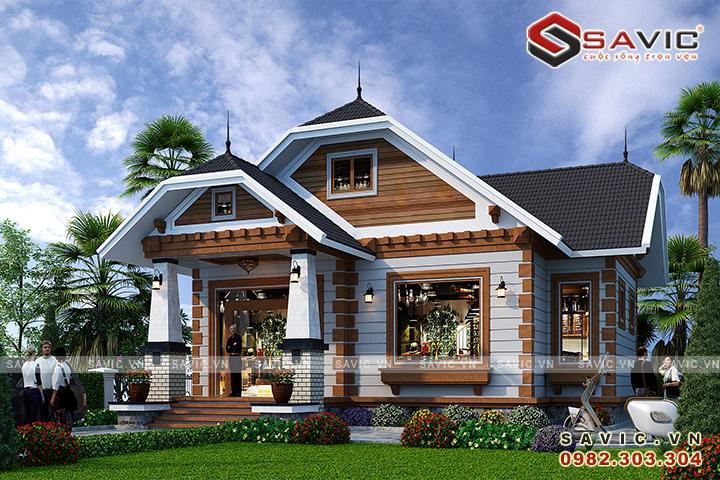 Thiết kế nhà vườn 120m2 3 phòng ngủ mặt tiền 9m sâu 13m BT1824