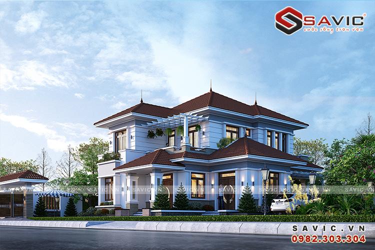 Nhà vuông 2 tầng mái thái 5 phòng ngủ 160m2 kích thước 13x13m BT1823